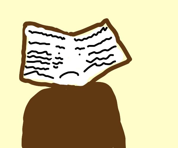 sad book face man