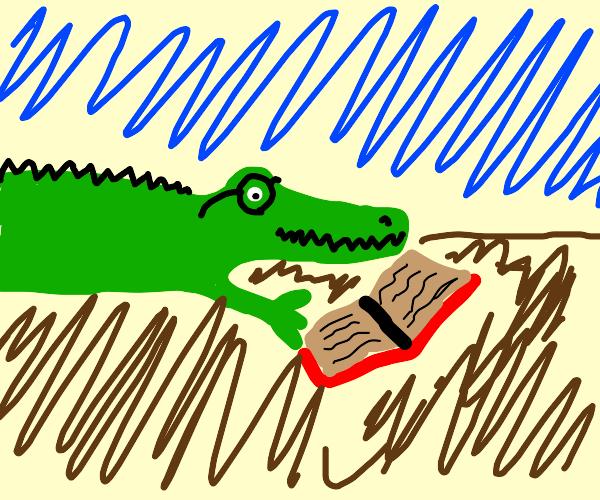 crocodile wearing glasses, reading a book
