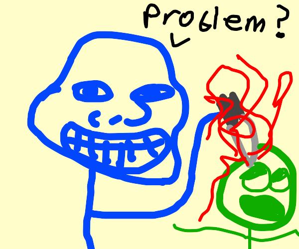 Blue troll man stabs green man in the head