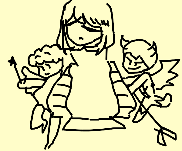 sad human with angel and devil on arms talkin