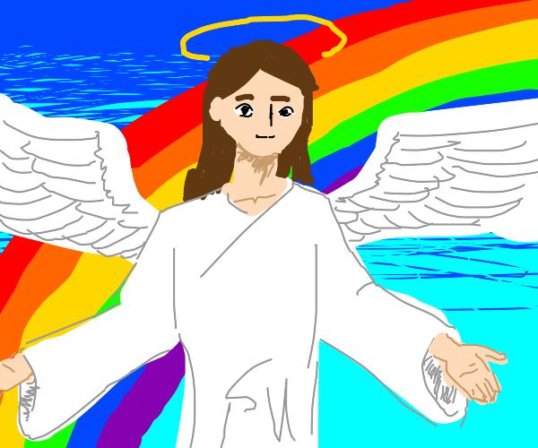 angel w/ rainbow background