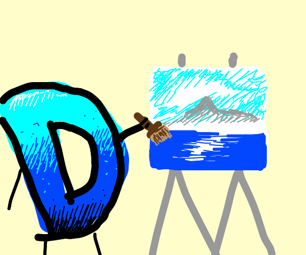 Drawception giving a Bob Ross tutorial