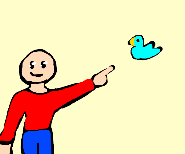 Man happily points at birds