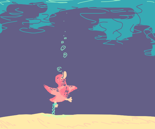 Pink Duck chained to the bottom of the sea
