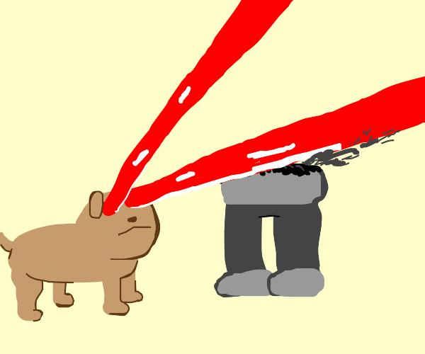 doggo obliterates man with laser vision