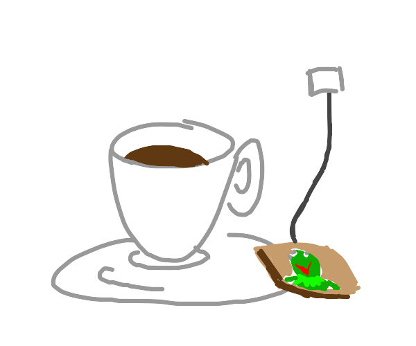 Kermit meme in a teabag beside a teacup