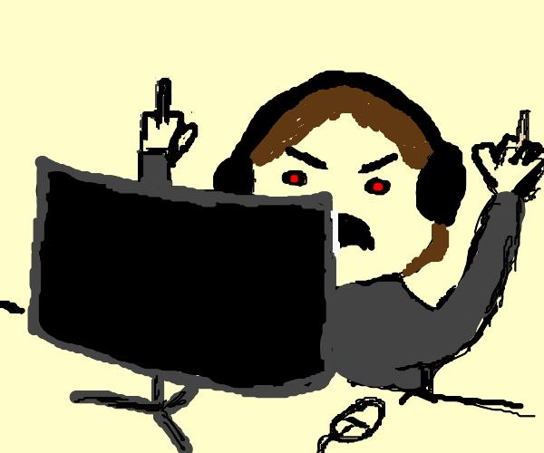 Gamer raging at PC