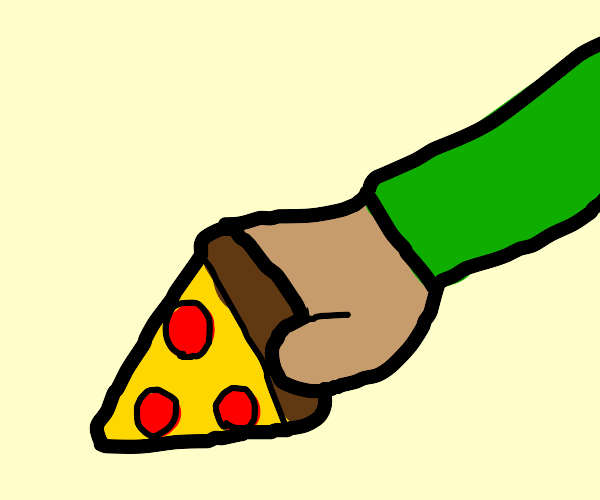 Arm with green sleeve grabbing slice of pizza
