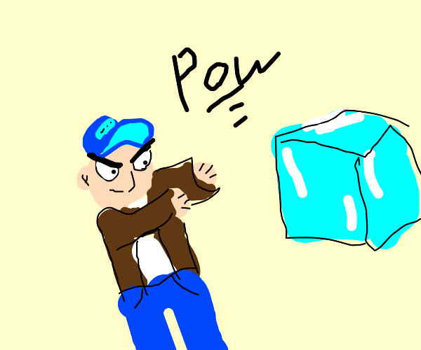 Angry man is going to punch some ice