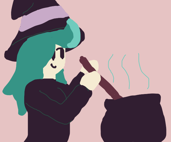 A pretty witch mixing a potion