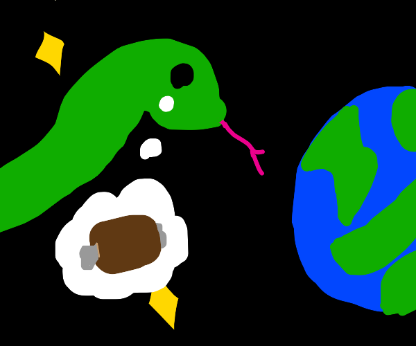 A HUGE snake prepares to eat the Earth