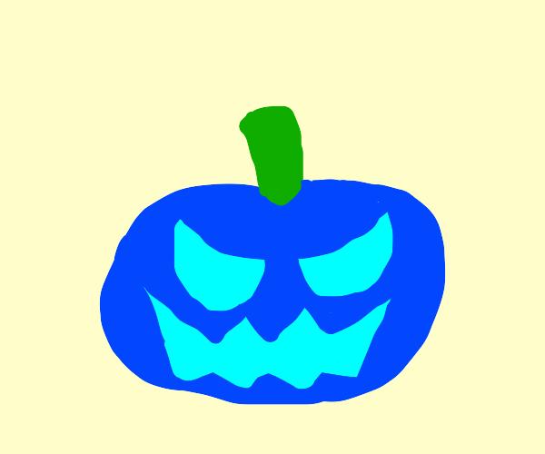 evil blue pumpkin