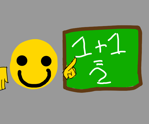 Happily teaching that 1 + 1 equals 2.