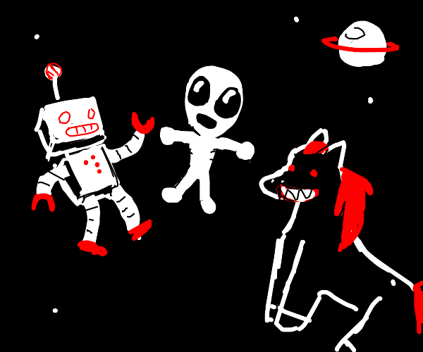 Robot, alien and creepy horse in space