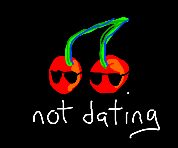 A single, cool pair of cherries in a void