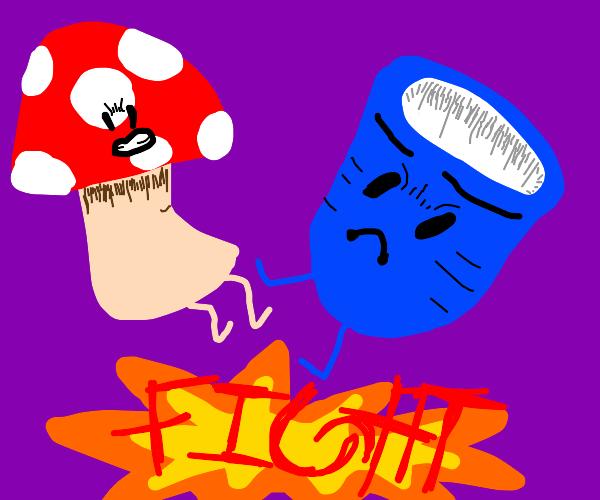 Mushroom vs cup fight