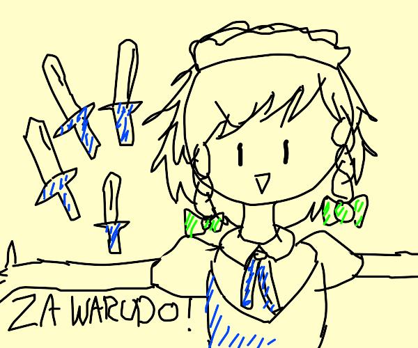 maid uses ZA WARUDO!! with knives