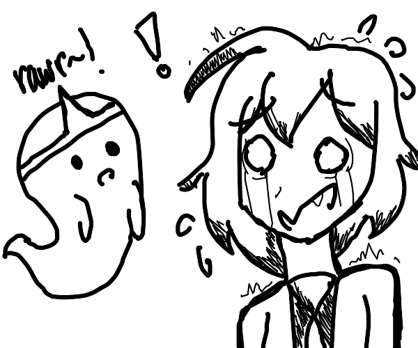 Kawaii Anime girl is scared by a ghost