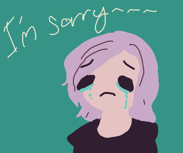 Pink hair girl crying and saying shes sorry