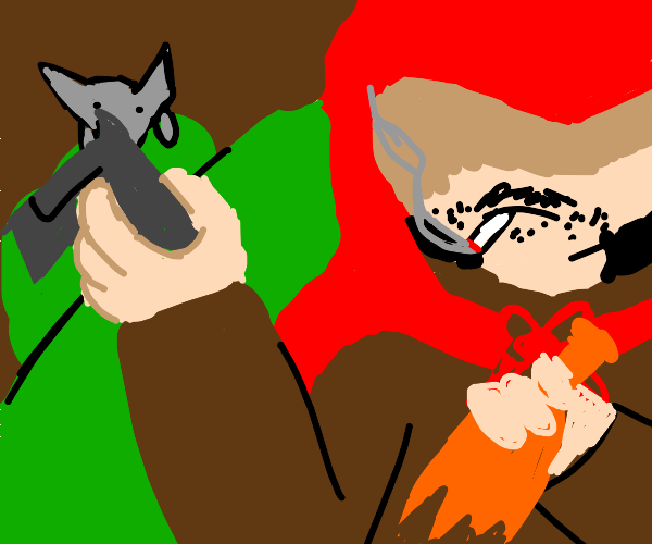 Red riding hood takes gun and booze to granny