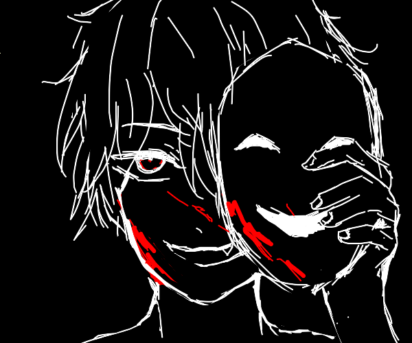 Murderer with drama mask