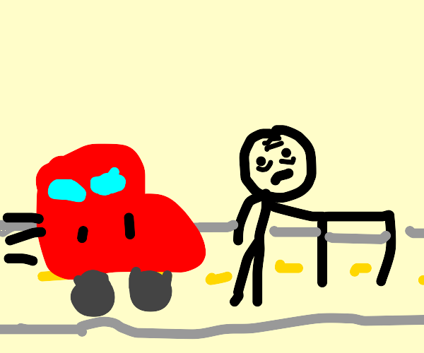 Old man crosses road in front of a car