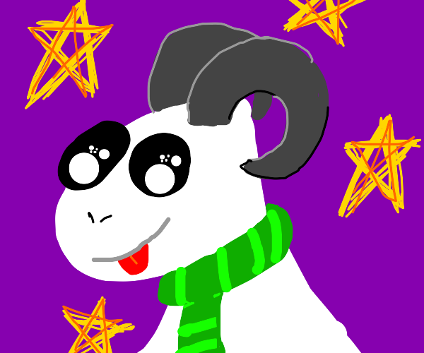 Star goat with Slytherin scarf