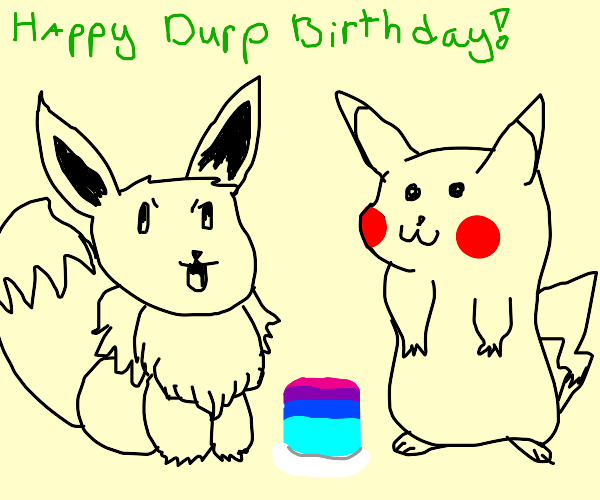 Pikachu celebrates eevees Bithday, who is m