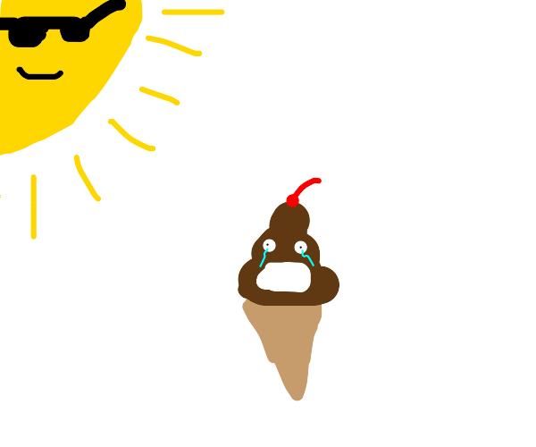 Sun melts ice cream