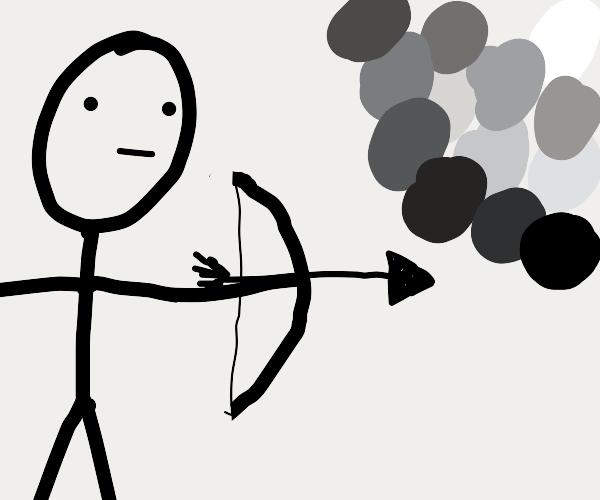 greyscale warrior shooting an arrow