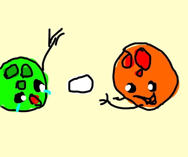 Bowling ball throws egg at bowling ball