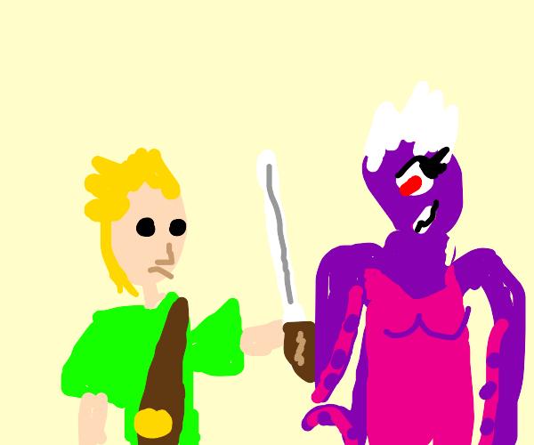 Cyclops Ursula fights Link from Zelda