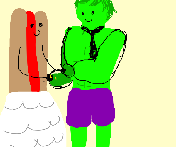 a hot dog and the hulk get married