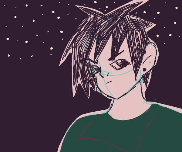 Intense anime dude in the dark