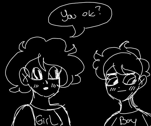 girl asking boy if he is ok