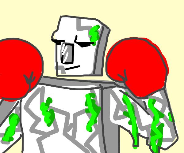 Iron golem in boxing gloves