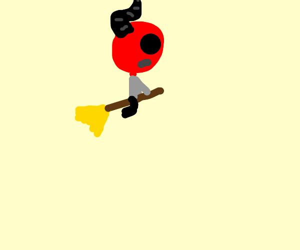 Devil riding on a broom