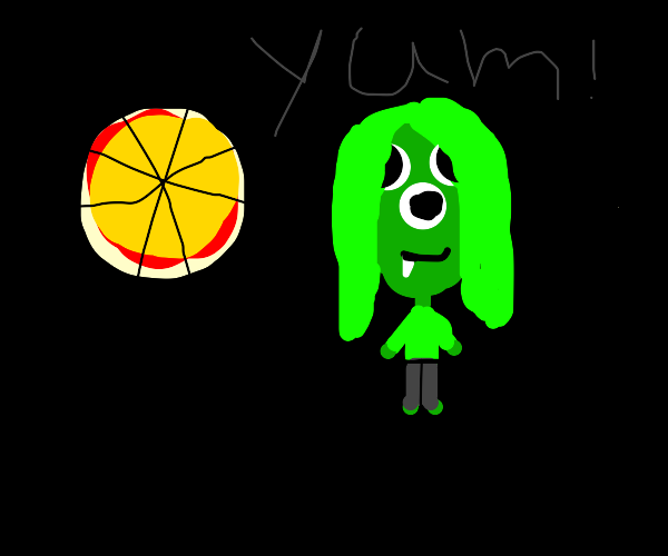 3-eyed alien woman eating pizza