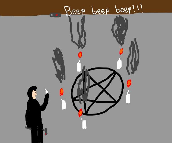 Satanic ritual smoke setting off fire alarm