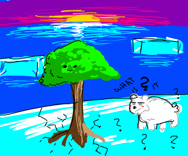 polar bear is confused by tree