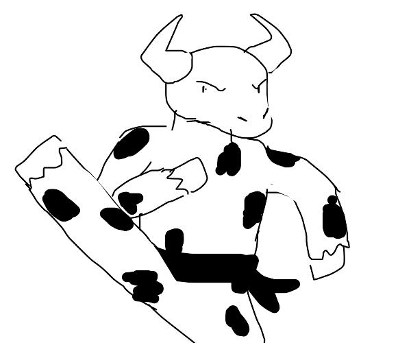 cow doing karate