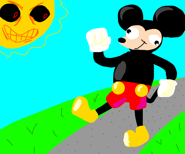 angry micky mouse walking and happy sun