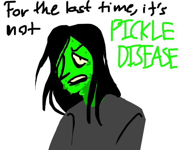 Green person has chickenpox