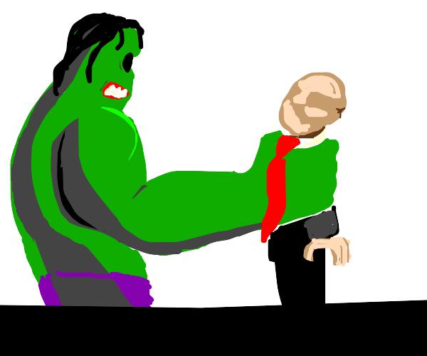 hulk zombie grabs man in tie