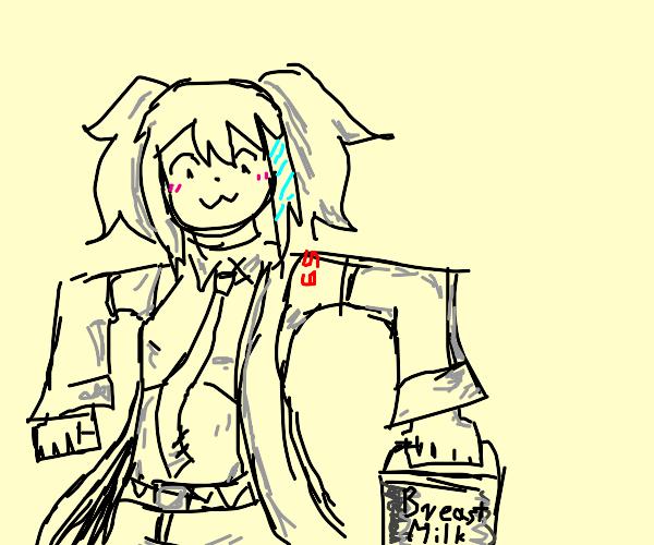 girl with breast milk bucket