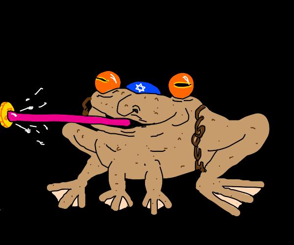 Jewish frog with long tongue