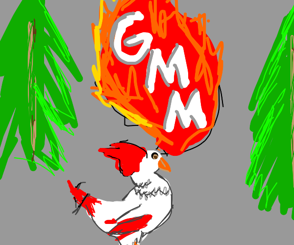 Rooster on fire