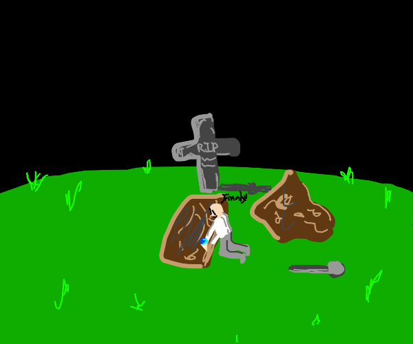 Thief stealing an icecream from a grave