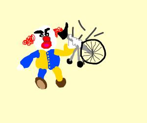 Mad clown breaks a tlbke