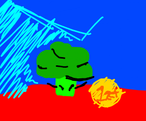 broccoli wins first place in blue background